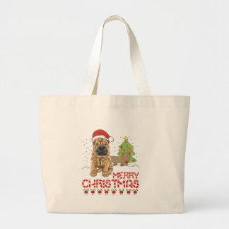 Navidad Shar Pei Bolsa Tela Grande
