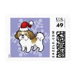 Navidad Shih Tzu (perrito cortado) Estampilla