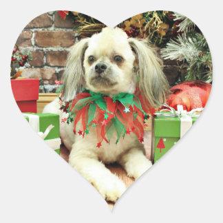 Navidad - Shih Tzu - Sr. T Pegatina En Forma De Corazón