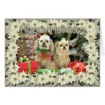 Navidad - Shih Tzu - Sr. T y Terrier X - lirio Tarjeta De Felicitación