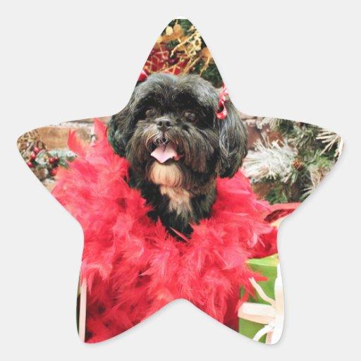 Navidad - Shih Tzu - volantes Pegatina En Forma De Estrella