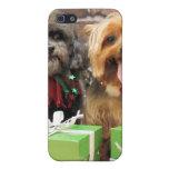 Navidad - Shih Tzu X Maggie - duendecillo de Yorki iPhone 5 Funda