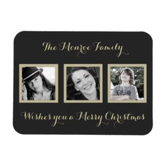 navidad simple de la familia de la Multi-foto que Rectangle Magnet