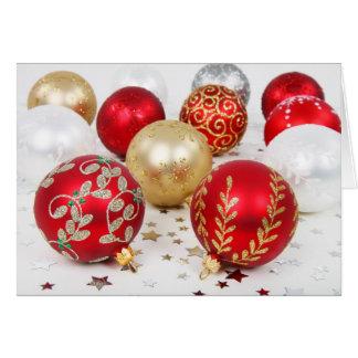 Navidad simple, ornamentos del vintage tarjeta de felicitación