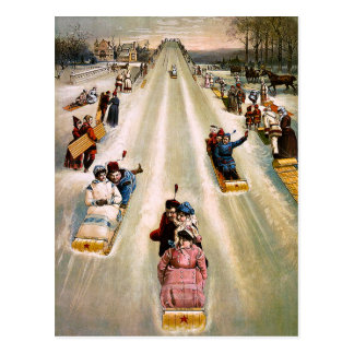 Navidad Sledding de la colina del Victorian del Postales