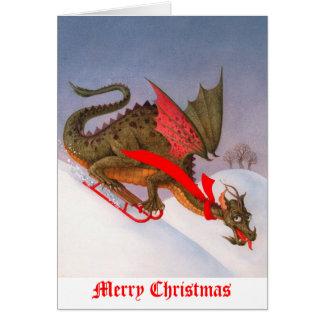 Navidad Sledding del dragón Tarjeta
