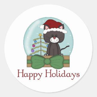 Navidad Snowglobes del día de fiesta del gatito Etiqueta Redonda