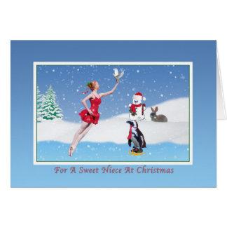 Navidad, sobrina, bailarina, invierno, nieve, tarj tarjeta de felicitación