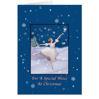 Navidad, sobrina, tarjeta de la bailarina de la re
