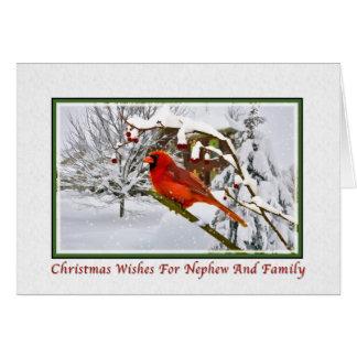 Navidad, sobrino y familia, pájaro cardinal, nieve tarjeta de felicitación