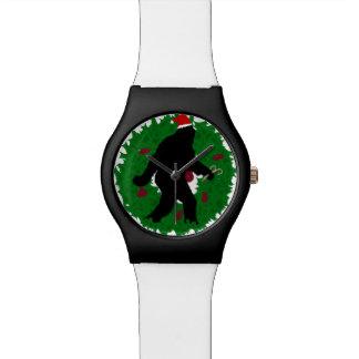 Navidad Squatchin con la guirnalda Relojes De Pulsera
