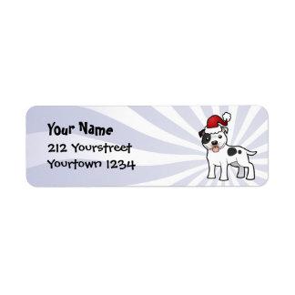 Navidad Staffordshire bull terrier Etiqueta De Remite