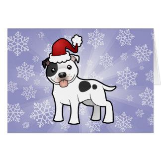 Navidad Staffordshire bull terrier Tarjeta