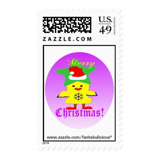 Navidad Stamp♥♪ de la diversión del ♫♥Santa-Pollo Envio