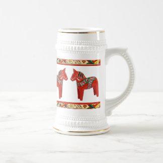 Navidad Stein de los caballos de Dala del sueco Jarra De Cerveza