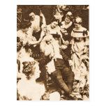 Navidad Stereoview Santa del vintage y las señoras Postal