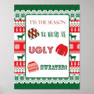 Navidad - suéter feo - pegajoso - muestra póster