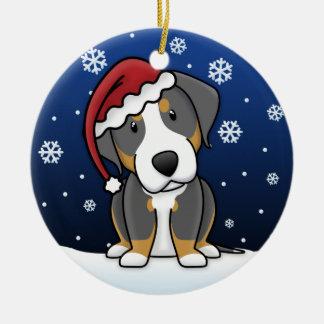 Navidad suiza del perro de la montaña del dibujo adorno navideño redondo de cerámica