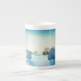 Navidad suizo del azul del opus taza de porcelana
