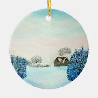 Navidad suizo del opus adorno navideño redondo de cerámica