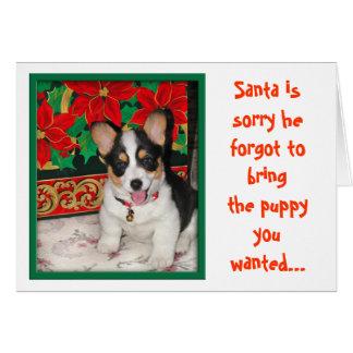 Navidad Tarjeta-Santa triste él olvidó su perrito