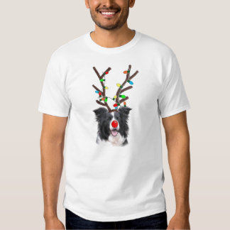 Navidad Tee~Reindeer del border collie Playera