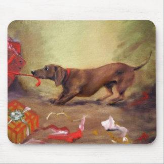 Navidad temprano - o mún perro del Dachshund:) Tapete De Raton