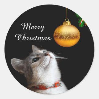 Navidad tentado del gato del gatito pegatina redonda