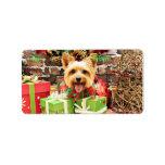 Navidad - Terrier sedoso - Haley Etiqueta De Dirección