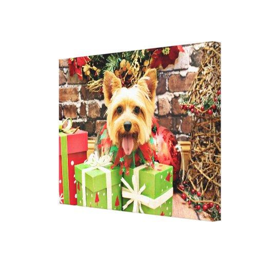 Navidad - Terrier sedoso - Haley Impresión En Lona Estirada
