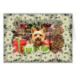 Navidad - Terrier sedoso - Haley Tarjeta