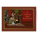 Navidad, tía, pasada de moda tarjeta