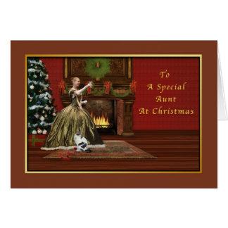 Navidad, tía, pasada de moda tarjeta de felicitación