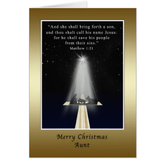 Navidad, tía, religioso, natividad y cruz tarjeta de felicitación