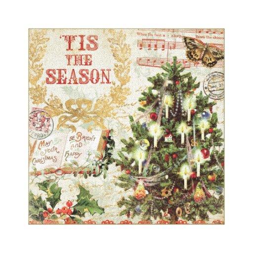 Navidad Tis del vintage la estación Lona Envuelta Para Galerias