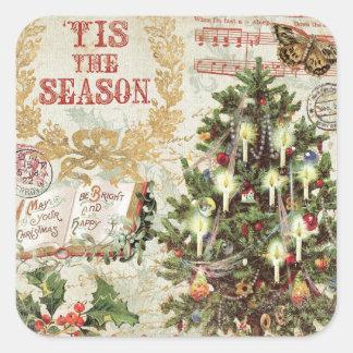 Navidad Tis del vintage la estación Pegatina Cuadrada