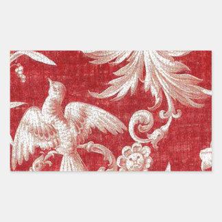 Navidad Toile lamentable rojo Pegatina Rectangular