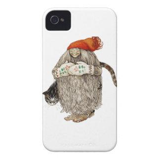Navidad Tomten de la abuela con el gato gris Case-Mate iPhone 4 Cobertura