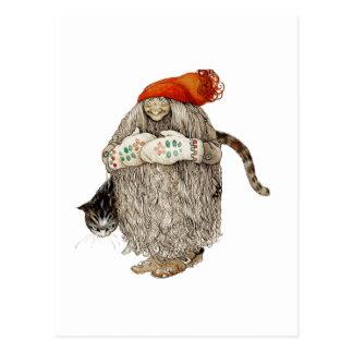Navidad Tomten de la abuela con el gato gris Tarjetas Postales