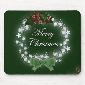 Navidad tradicional guirnalda y muérdago mouse pads