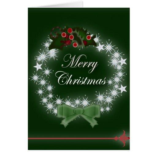 Navidad tradicional guirnalda y muérdago felicitaciones