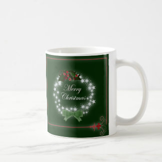 Navidad tradicional guirnalda y muérdago taza
