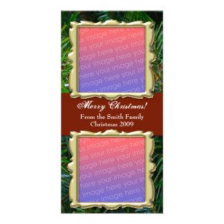 Navidad tradicional PhotoCards- 2 fotos Tarjeta Fotográfica Personalizada