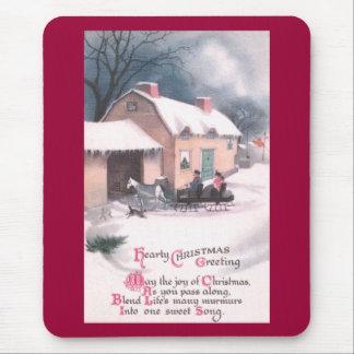 Navidad traído por caballo del vintage del trineo mouse pad