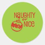 Navidad travieso o Niza Etiqueta Redonda