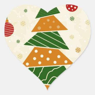 Navidad tree5 pegatina en forma de corazón