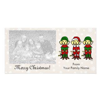 Navidad tres perritos amarillos del laboratorio tarjeta fotografica