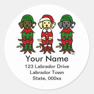 Navidad tres perritos del laboratorio pegatina redonda