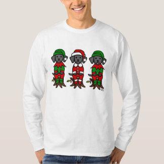 Navidad tres perritos negros del laboratorio playera