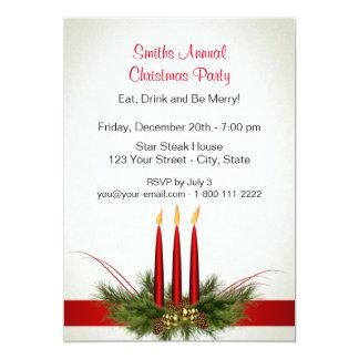 """Navidad tres velas rojas de invitaciones del invitación 5"""" x 7"""""""
